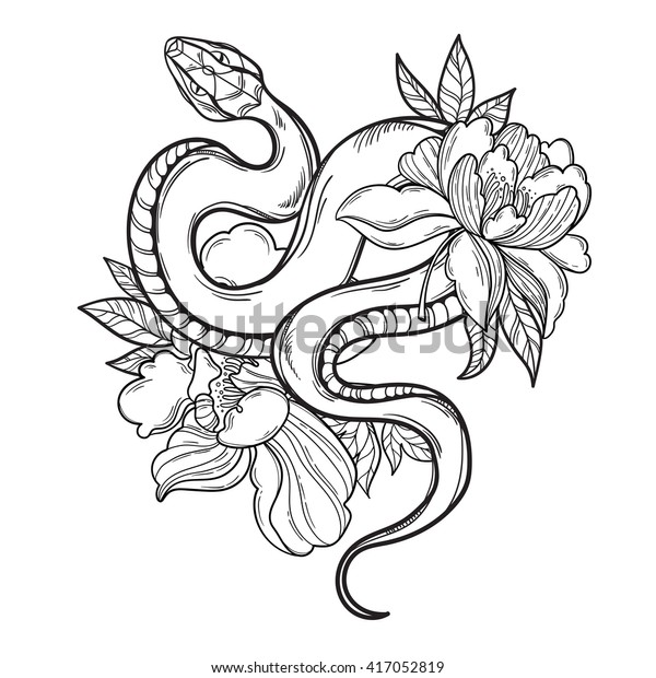 Contour Snake Flowers Tattoo Art Coloring Stock Vector Royalty Free