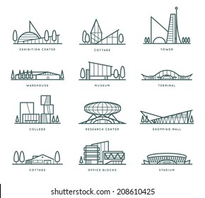 Contour stylized modern flat draft city buildings set. Museum, Cottage, College, Office Blocks, Towers, Stadium, Marketplace, University, Warehouse, Terminal. Vector graphic collection, logo templates