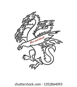 4a317579 Contour of the three-headed dragon. Mythical animal. Graphic design element  for printing
