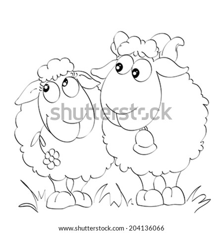 Contour Two Funny Sheep On Isolated Stock Vector Royalty Free