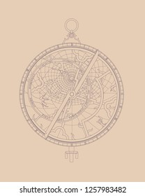 Contour vector drawing of an ancient decorative astrolabe with patterns.