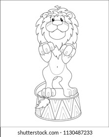 Contour vector drawing for coloring book. A trained lion stands on a pedestal on his hind legs. Circus animal artists.