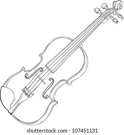 Contour Vector Drawing Illustration of Violin
