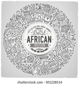 Contour vector hand drawn set of Africa cartoon doodle objects, symbols and items. Round frame composition