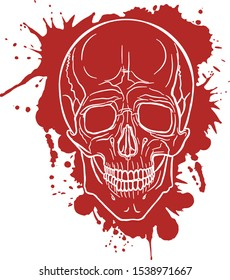 The contour of a white skull on a background of red spots. Smudges of paint. Red ink. Art style. Bright scary picture for the day of death. Cartoon skull, bones. Isolated vector.