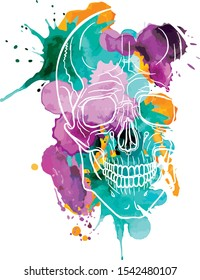 The contour of a white skull on a background of watercolor stains. Lilac, pink, green and yellow splashes. Art style. Bright scary picture for the day of death. The human head. Isolated vector.