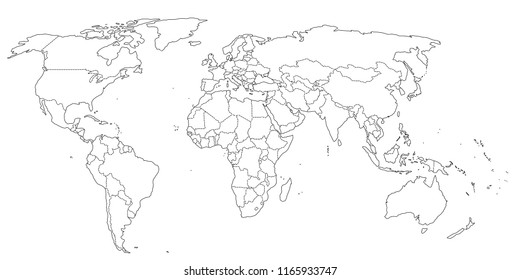 Contour world map black and white colors