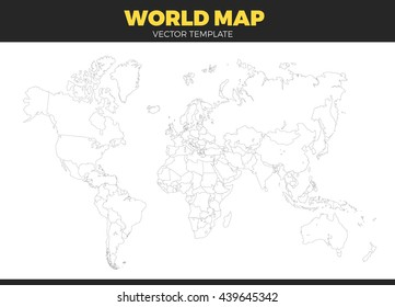 contour world map design Vector Illustration. Empty all countries template without country names text. Isolated on white background