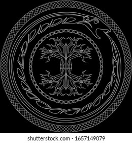contour yggdrasil and ouroboros in ornamented circles on black background