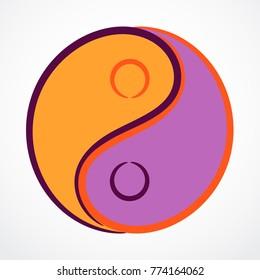 Contour Yin Yang symbol with filling
