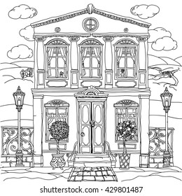 Contoured Black and white illustration of a house with details for adult coloring book or for zen art therapy anti stress drawing. Hand-drawn, vector,very detailed, for coloring, poster design.