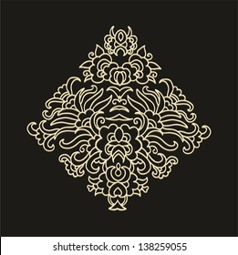 Contoured laced golden decorative floral composition, japanese style