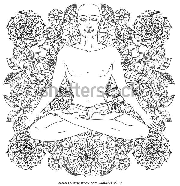 Contoured Man Yoga Lotus Position Meditation Stock ...