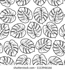contoured monstera leaves graphic exotic seamless pattern on white background