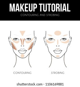 Contouring guide tutorial. Makeup Template of female face chart. Vector illustration of pretty young woman. Strobing, Highlighting and Contouring technique. Professional make up chart.