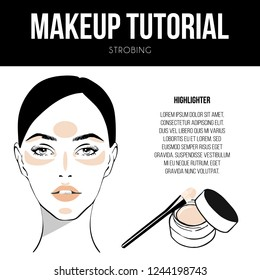 Contouring guide tutorial. Makeup Template of female face chart. Vector illustration of pretty young woman. Strobing technique and Foundation cream, makeup brush. Professional make up chart.