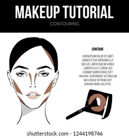 Contouring guide tutorial. Makeup Template of female face chart. Vector illustration of pretty young woman. Contouring technique Cosmetic Make up dark brown Powder in Case. Professional make up chart.