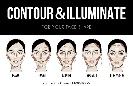 Contouring & illuminate makeup for different types of woman's face. Vector set of different forms of female face. How to put on perfect make up. Contouring and highlighting for face shapes.