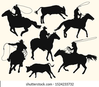 Contours of cowboys at the rodeo with a bull. Men with lasso riding a horse, isolated vector silhouettes set