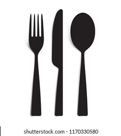 The contours of the cutlery. Spoon, knife, forks. Ready to use vector elements. EPS10.