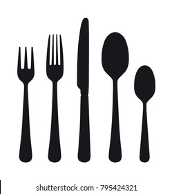 The contours of the cutlery. Spoon, knife, forks. Ready to use vector elements.