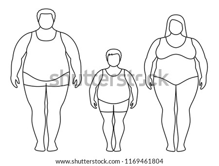 Contours Fat Man Woman Child Obese Stock Vector Royalty Free