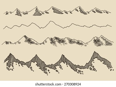 Contours of the mountains engraving vector illustration, hand drawn design elements, sketch