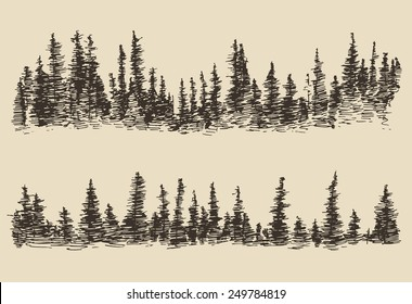 Contours of the mountains with fir forest, engraving vector illustration, hand drawn, sketch
