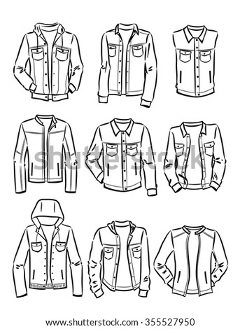 Contours Set Mens Denim Jackets Isolated Stock Vector Royalty Free
