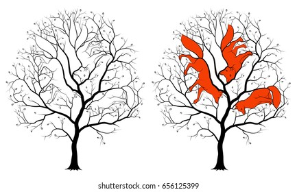 Contours of three hidden foxes among tree branches, a black silhouette on a white background. Children's picture is a riddle with solution.