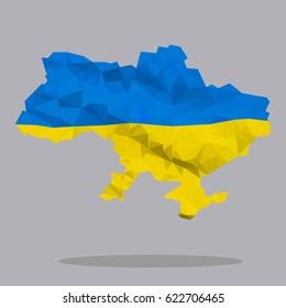 the contours of Ukraine with flag