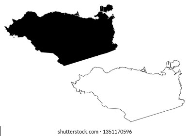 Contra Costa County, California (Counties in California, United States of America,USA, U.S., US) map vector illustration, scribble sketch Contra Costa map