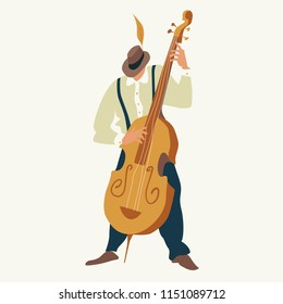 Contrabass player. Jazz or blues musician plays a contrabass. Element for flyer, posters of festival jazz music, jazz band performances. Isolated object. Vector illustration.