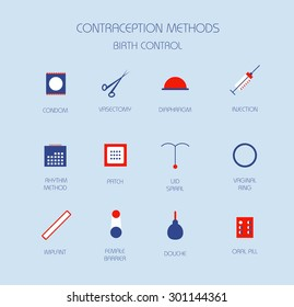 Contraception methods. Birth control. Vector icon set.