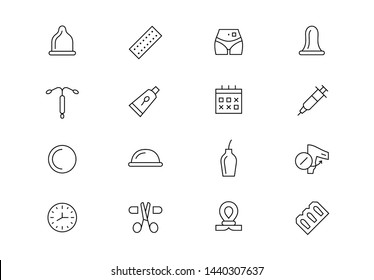 Contraception methods. Editable stroke vector icons