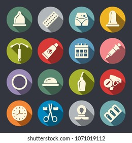 Contraception methods icon set