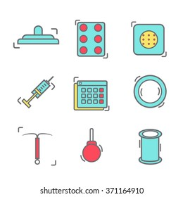 contraception methods line icon