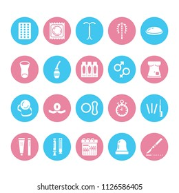 Contraceptive method flat glyph icons. Birth control equipment, condoms, oral contraceptives, iud, vaginal ring, sterilization. Safe sex signs for medical clinic. Solid silhouette pixel perfect 64x64.