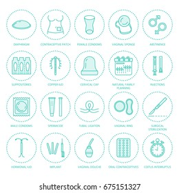Contraceptive methods line icons. Birth control equipment, condoms, oral , iud, barrier contraception, vaginal ring, sterilization. Safe sex thin linear signs for medical clinic.