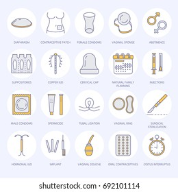 Contraceptive methods line icons. Birth control equipment, condoms, oral iud, barrier contraception, vaginal ring, sterilization. Safe sex thin linear signs for medical clinic.