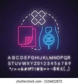 Contraceptive patch neon light concept icon. Safe sex. Pregnancy prevention. Intimate relationship idea. Glowing sign with alphabet, numbers and symbols. Vector isolated illustration