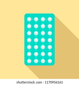 Contraceptive pills pack icon. Flat illustration of contraceptive pills pack vector icon for web design