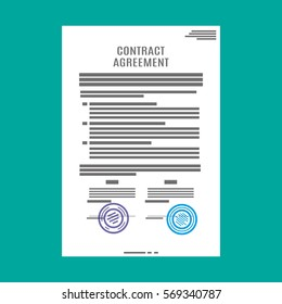 Contract agreement paper blank with seal. Vector illustration in flat style