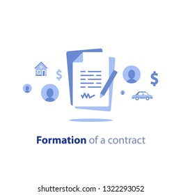 Contract creation service, document formation, application form composition, obligation concept, last will paper, prenup terms conditions, divorce property separation, settlement agreement vector icon