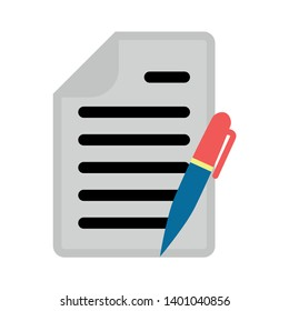 Contract document icon. style sign for mobile concept and web design. Paper and pen vector icon. Edit document sign icon. Edit content button.