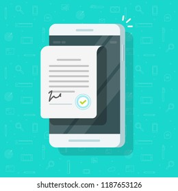 Contract document on smartphone vector illustration, flat cartoon agreement document on mobile phone with signature and approval stamp, business legal doc and sign on cellphone