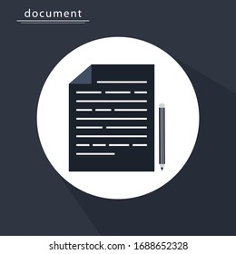 Contract Document With Pencil icon flat design