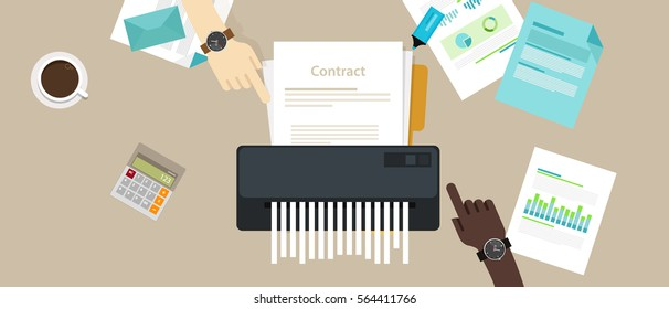 contract failure agreement cancelation broken paper shredder company business no deal