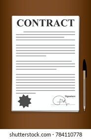 Contract Forms Paper Signed and Sealed Written in Black and White on Brown Background