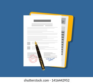 Contract icon agreement pen on desk flat business illustration vector